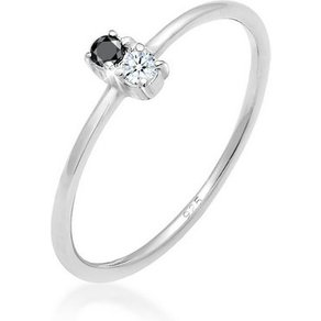 Elli Diamantring Bi-Color Schwarzer Diamant 0 06 ct 925 Silber