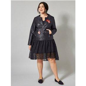 Sara Lindholm by Happy Size Lederimitat-Jacke mit Stickerei