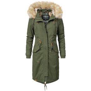 Navahoo Wintermantel Kin-Joo stylischer Damen Parka mit Kunstfell-Kapuze