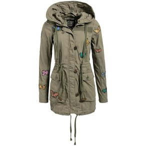 khujo Military-Jacket TAIPA mit Schmetterlingen