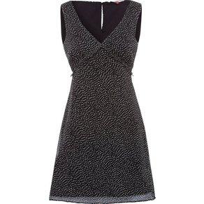 TOMMY JEANS Chiffonkleid TJW AOP V-NECK DRESS mit verspielter Rüschenkante