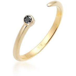 Elli Diamantring Solitär Schwarzer Diamant 0 03 ct 375 Gelbgold