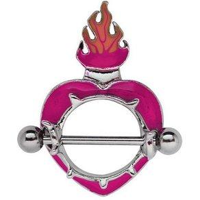 Adelia s Brustwarzenpiercing Brustpiercing Titan Intim Brust Piercing Schild Herz mit Flammen aus Pewter