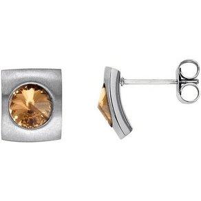 Heideman Paar Ohrhänger Quadro Glanzmatt mit Swarovski Stein weiss oder Farbstein