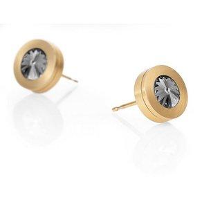 Heideman Paar Ohrhänger Colori Gold mit Swarovski Stein weiss oder Farbstein