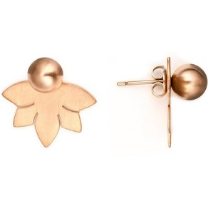 Heideman Paar Ohrhänger Lotusblume 8 Rose Vergoldet hinten und vorne Ohrringe doppel ohrringe
