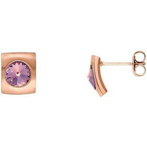 Heideman Paar Ohrhänger Quadro Rosegold mit Swarovski Stein weiss oder Farbstein