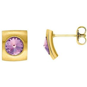 Heideman Paar Ohrhänger Quadro Gold mit Swarovski Stein weiss oder Farbstein