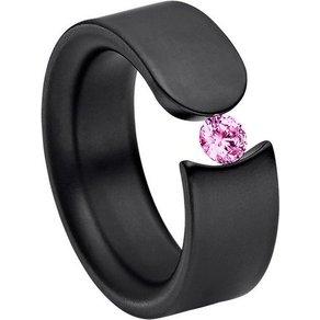 Heideman Fingerring Figura Schwarz Ring mit Stein als Spannring gearbeitet