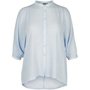 Zizzi Hemd Damen Basic Stehkragen Knöpfe 3 4 Arm Hemdbluse Grosse Grössen