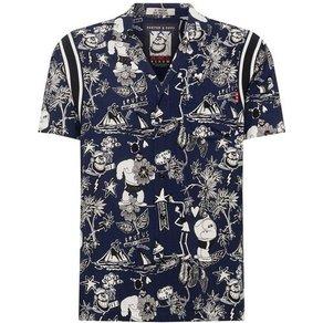 Scotch Soda Hawaiihemd Brutus Ams Blauw colab hawaiian fit shirt