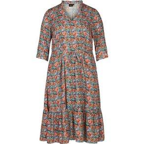 Zizzi Maxikleid Damen Kleid Grosse Grössen Blumenprint 3 4 Arm Sommerkleid
