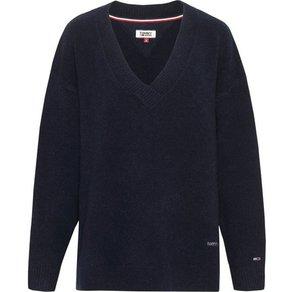 TOMMY JEANS Strickpullover TJW SIDE SLIT V-NECK SWEATER mit sportivem V-Ausschnitt Tommy Jeans Logoschriftzug