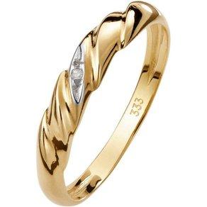 Lady Ring mit Diamant und aparten Rillen