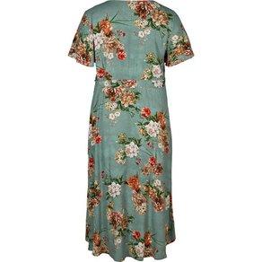 Zizzi Maxikleid Damen Grosse Grössen Kleid Blumenmuster Weit Kurzarm Sommerkleid