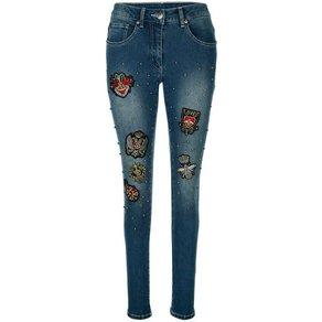 Amy Vermont Jeans mit Patches und Perlendekoration