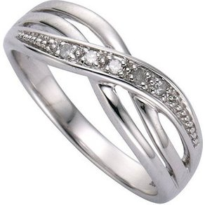Diamonds by Ellen K Ring 925 Sterling Silber Diamant 0 01ct