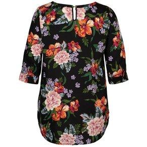 Zizzi Kurzarmbluse Damen Grosse Grössen Tunika 3 4 Arm Blumenmuster Leicht Longbluse