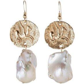 Gemshine Paar Ohrhänger Vintage Münzen Pegasus Pferd mit Barockperlen 925 Silber