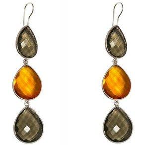 Gemshine Paar Ohrhänger auchquarz goldgelbe Citrin Tropfen 925 Silber Made in Spain