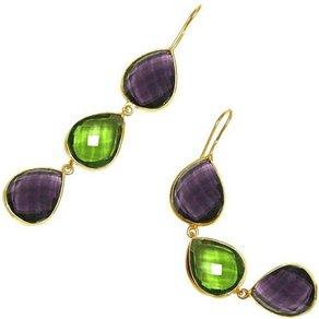 Gemshine Paar Ohrhänger grüne Peridoten und lila Amethysten Tropfen 925 Silber Made in Spain