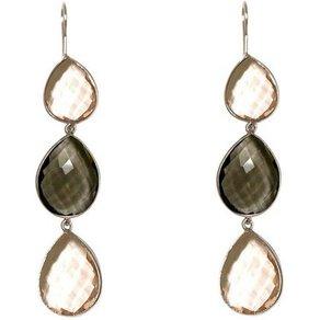 Gemshine Paar Ohrhänger Rauchquarz und Rosenquarz Tropfen 925 Silber Made in Spain
