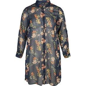 Zizzi Hemd Damen Grosse Grössen Longbluse Blumenmuster Langarm Transparent Bluse