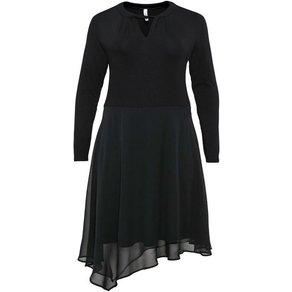 Sheego Jerseykleid im Materialmix