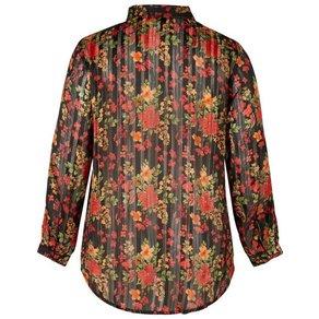 Zizzi Langarmshirt Damen Grosse Grössen Hemd Kragen Langarm Transparent Hemdbluse