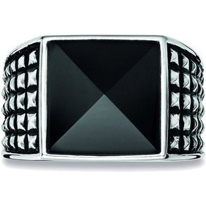 CAÏ Ring 925 Sterling Silber rhodiniert poliert Onyx