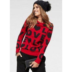 LOVE MOSCHINO Rundhalspullover mit Buchstaben Statement Design