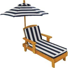 KidKraft Kinderklappstuhl Liegestuhl mit Sonnenschirm weiss-blau