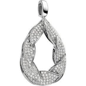 Jobo Kettenanhänger Tropfen 585 Weissgold mit 175 Diamanten