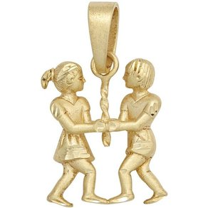 Jobo Sternzeichenanhänger Sternzeichen Zwilling 925 Silber vergoldet