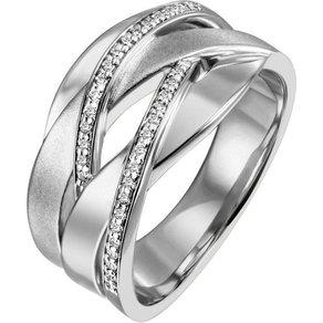 Jobo Fingerring breit 925 Silber mit 34 Zirkonia