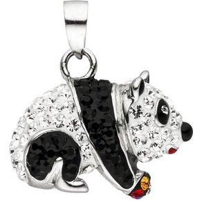 Jobo Kettenanhänger Panda 925 Silber mit bunten Kristallen