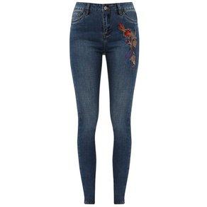 Finn Flare Jeans mit floraler Stickerei