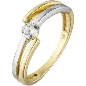 Jobo Fingerring 333 Gold bicolor mit Zirkonia