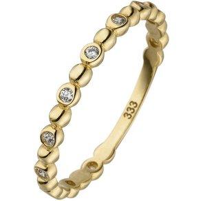 Jobo Fingerring Kugelring 333 Gold mit 11 Zirkonia