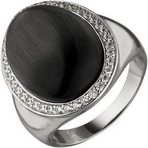 Jobo Fingerring 925 Silber mit Mondstein-Imitation und 38 Zirkonia