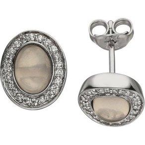 Jobo Paar Ohrstecker oval 925 Silber mit Rosenquarz und 44 Zirkonia