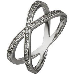 Jobo Fingerring X-Ring 925 Silber mit 49 Zirkonia