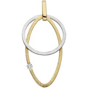 Jobo Kettenanhänger 585 Gold bicolor mit 1 Diamant