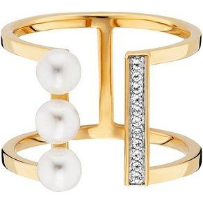 CAÏ Ring 925 Sterling Silber vergoldet Perlen Topas