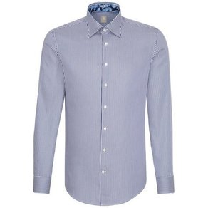 Jacques Britt Businesshemd Custom Fit Custom Fit Langarm Under-Button-Down-Kragen Streifen