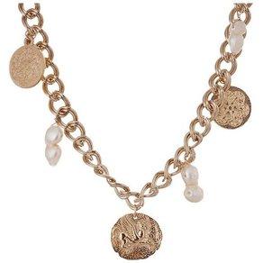 Gemshine Collier Blatt Münzen und Barock Perle