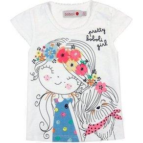 BÓBOLI BARCELONA Baby T-Shirt mit angenähten Blüten für Mädchen