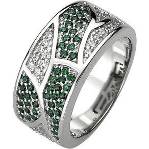 Jobo Fingerring 925 Silber mit 85 Zirkonia grün und weiss