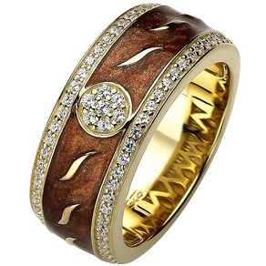 Jobo Fingerring 925 Silber vergoldet mit Emaille und 67 Zirkonia