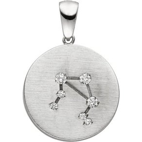 Jobo Sternzeichenanhänger Sternzeichen Waage 925 Silber matt mit 7 Zirkonia